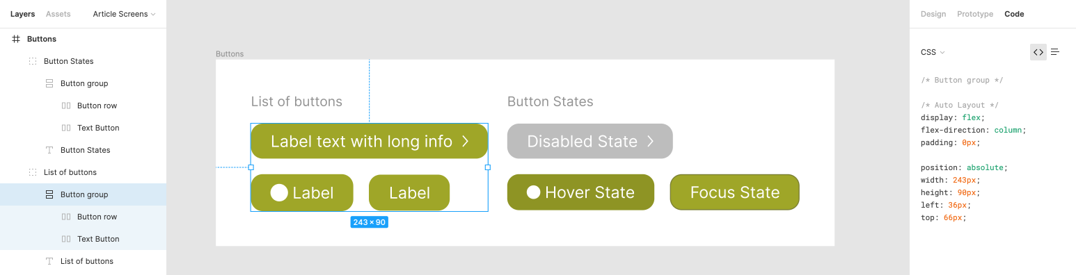 Buttons in Figma