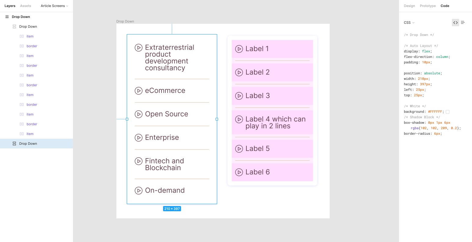 Highly customizable drop-down component that allows to control separators, wrapper, etc.