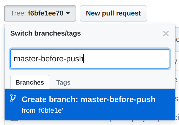 GitHub branch/tag switcher