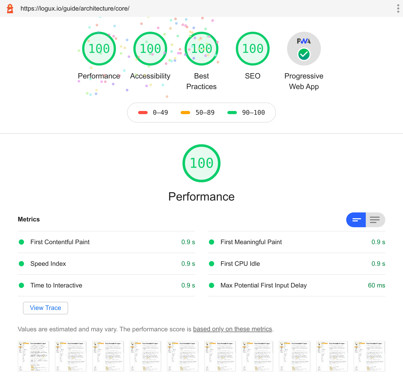 Lighthouse score for Logux website: 100 for performance, accessibility, best practices, SEO, and PWA