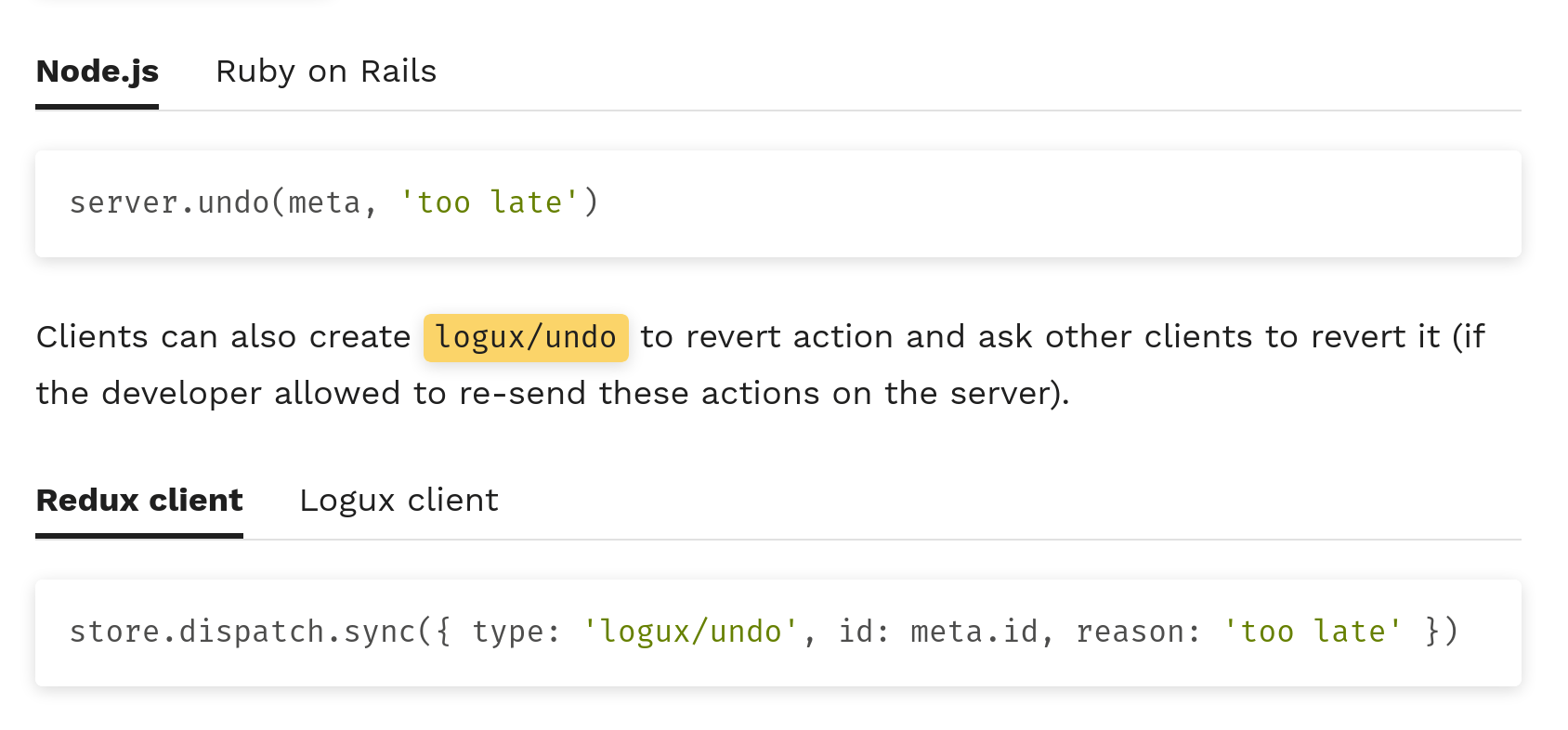 Logux tabs to change language for code examples