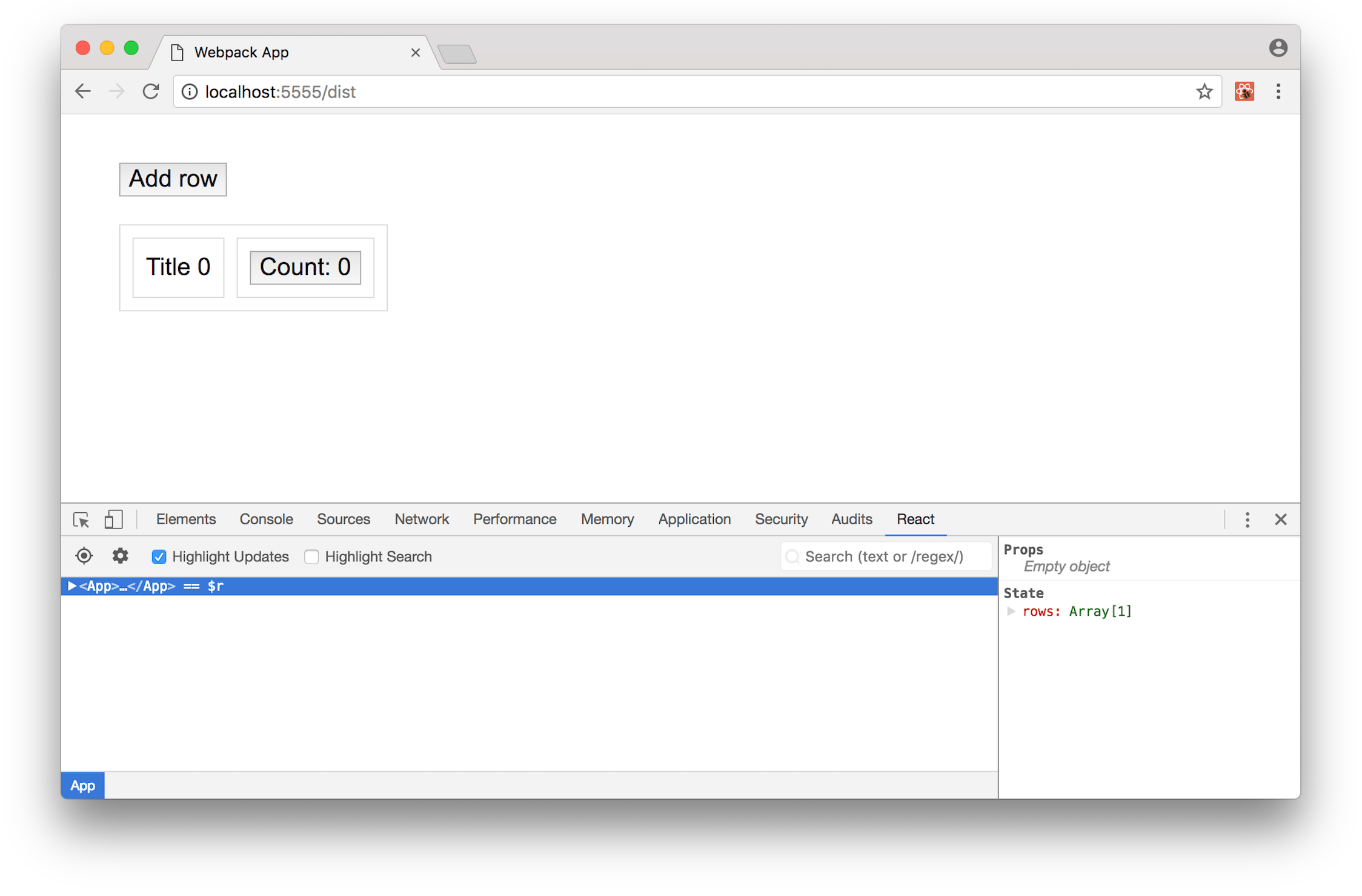 React DevTools in Chrome with 'Highlight updates' checkbox selected