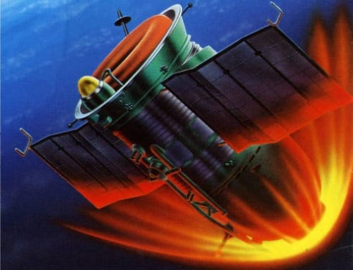 An artistic depiction of Soyuz 5 reentry